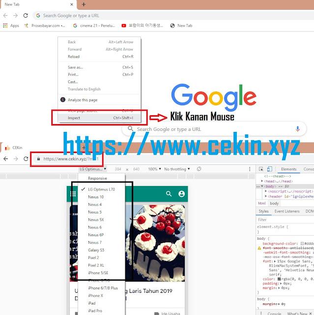 membuat tampilan Mobile di Browser Desktop PC