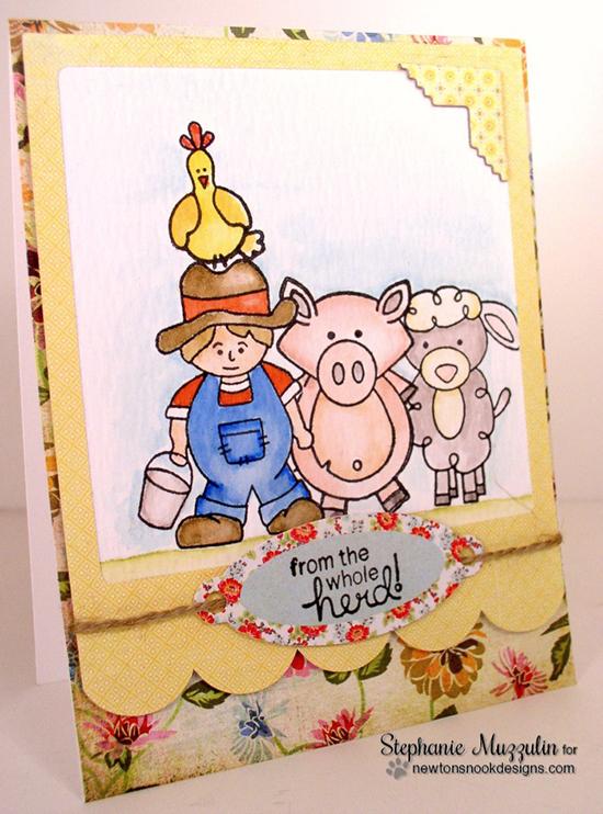 Farm Animal Birthday Card by Stephanie Muzzulin | Farmyard Friends Stamp Set by Newton's Nook Designs