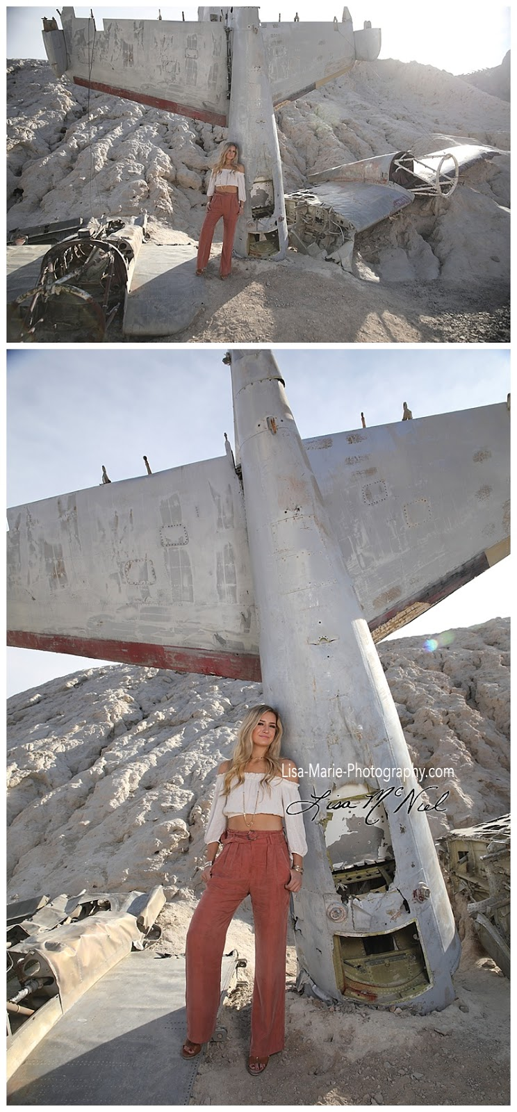 Senior pictures by wrecked plane Nelson Ghost Town outside Las Vegas