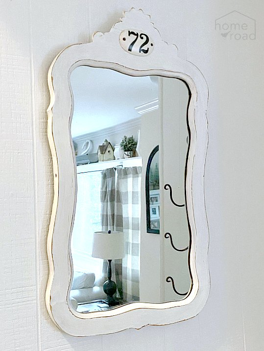 DIY Farmhouse Style Painted Mirror with Antique Tag
