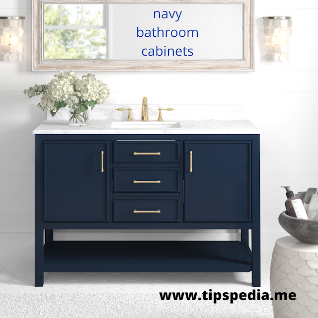 navy bathroom cabinets