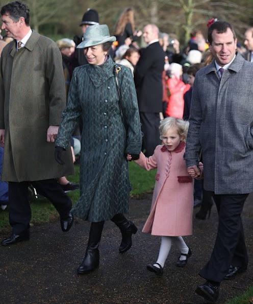 Prince Harry, Princess Anne, Prince Edward, Countess Sophie, Lady Louise Windsor, Princess Eugenie, Princess Beatrice. wore Prada dress, Prada shoes, pumps