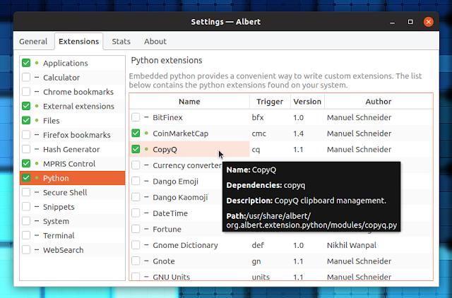 Albert launcher Python extensions