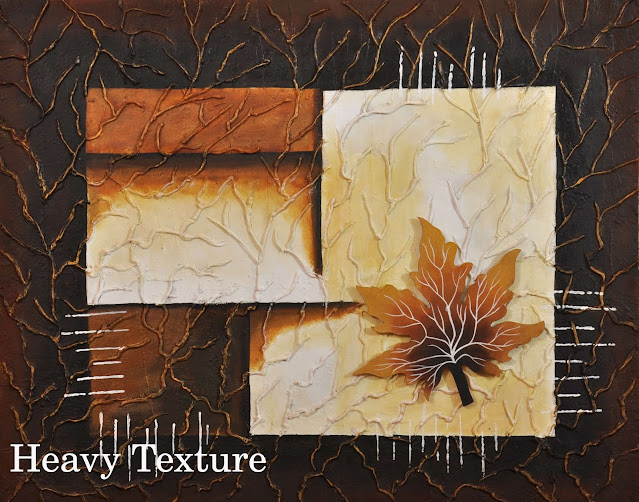 Heavy Texture Abstract Painting in shades of brown with a maple leaf on top