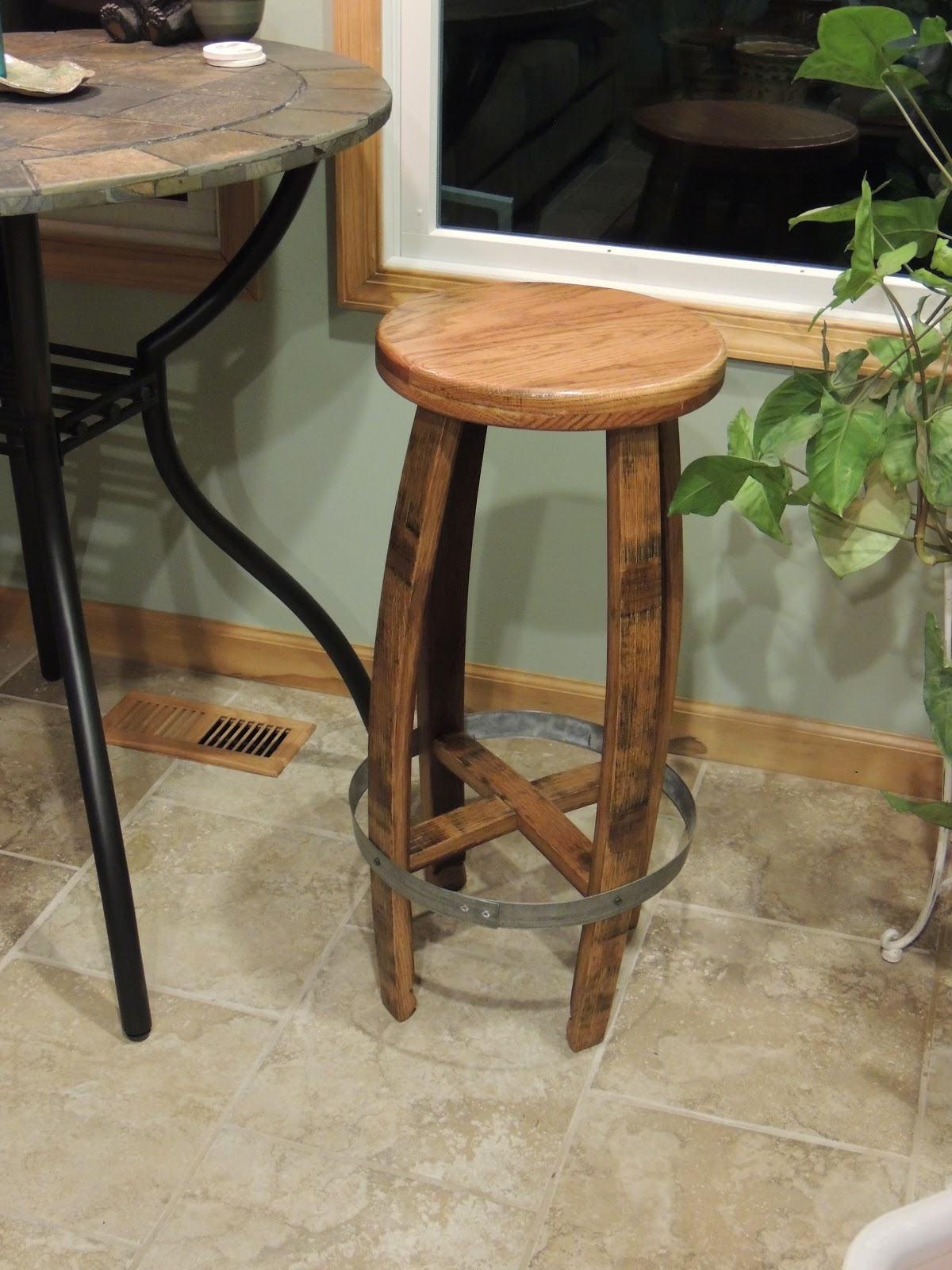Cork To Barrel Oak Wine Barrel Stave Bar Stool