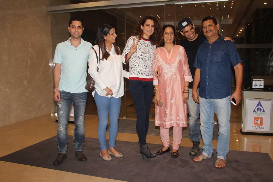 Kangana Ranaut Spotted with Her Family at Yauatcha Bandra BKC