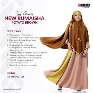 Koleksi Gamis Syari Muslimah New Rumaisha Potato Brown Set Syari by AULIA Fashion