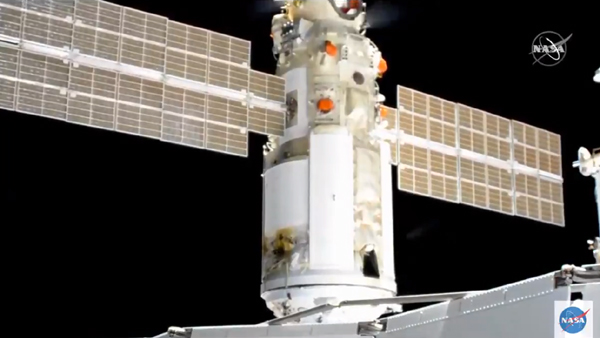 Nauka continues to fire its thrusters as it is about to fully dock with the Zvezda module...on July 29, 2021.