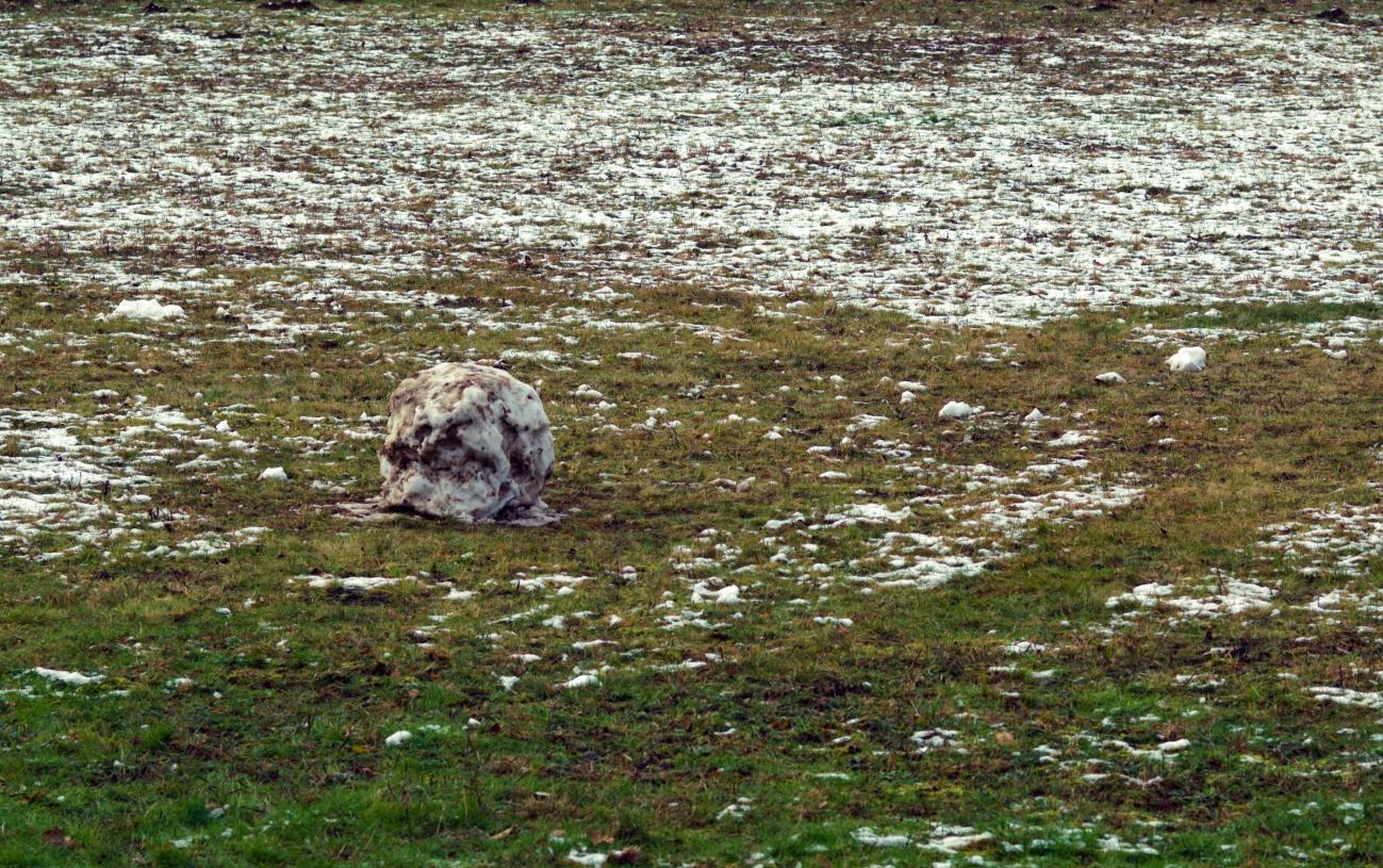 Sensation: Schmutziger Eiskomet in Mittelstadt gefunden  - oder war es nur ein halbfertiger Schneemann?