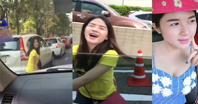 Girl forced to dance in traffic.