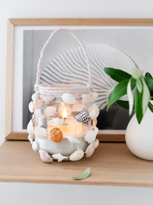 Mini Shell Garland Around Candle Jar Lantern