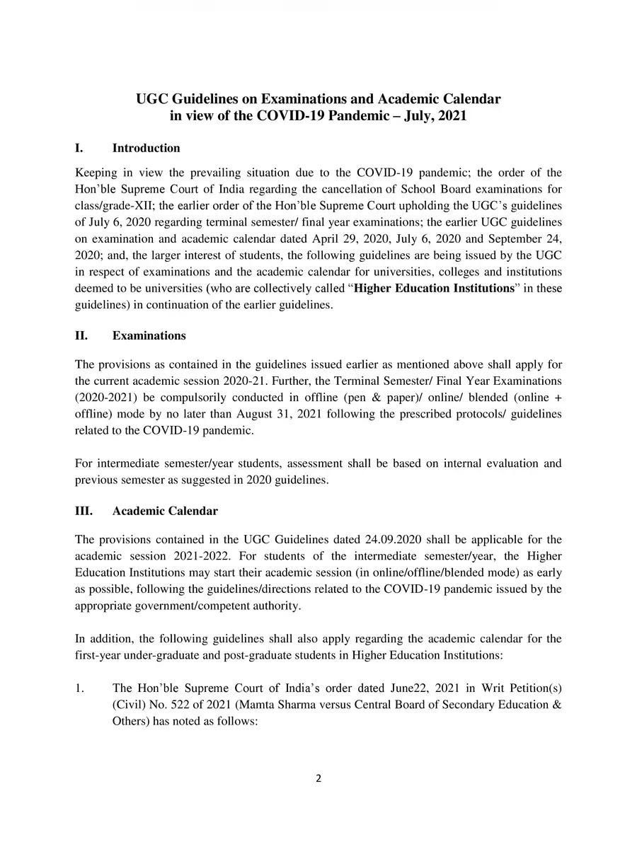 UGC Guidelines on Examinations & Academic Calendar July 2021