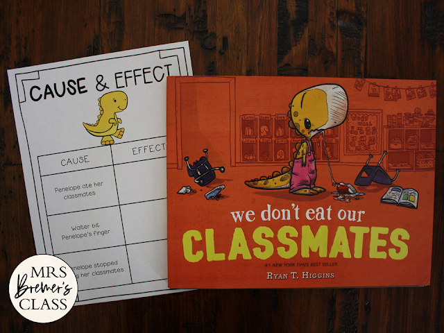 We Don't Eat Our Classmates book study activities unit with Common Core aligned literacy companion activities, class book & craftivity for Kindergarten & First Grade