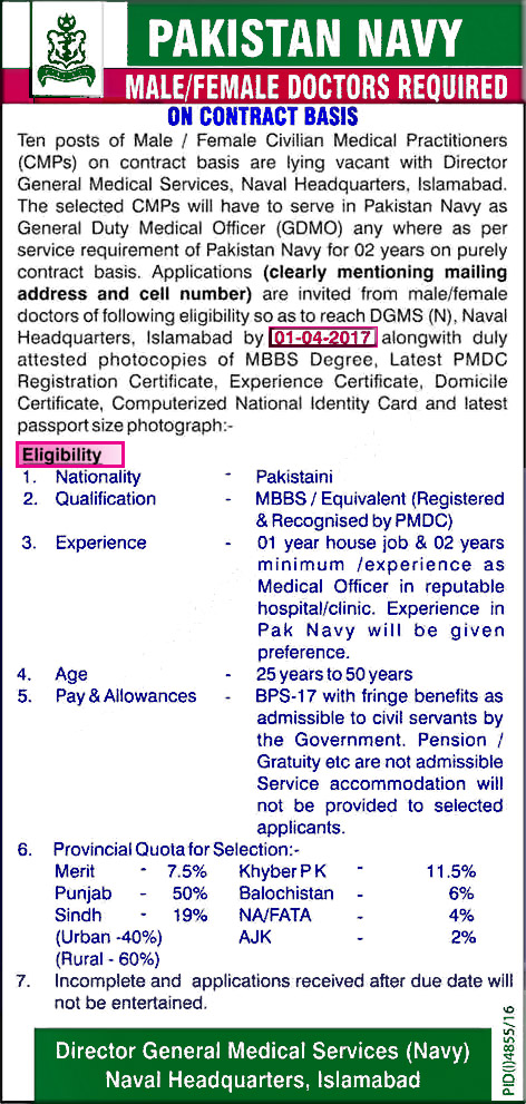 Medical Officer Jobs in Pakistan Navy 2017 March GDMO Latest | JOBNUM