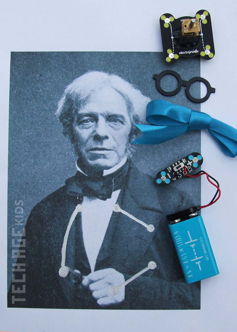 Michael Faraday With A Motorised Circuit Scribe Bow Tie
