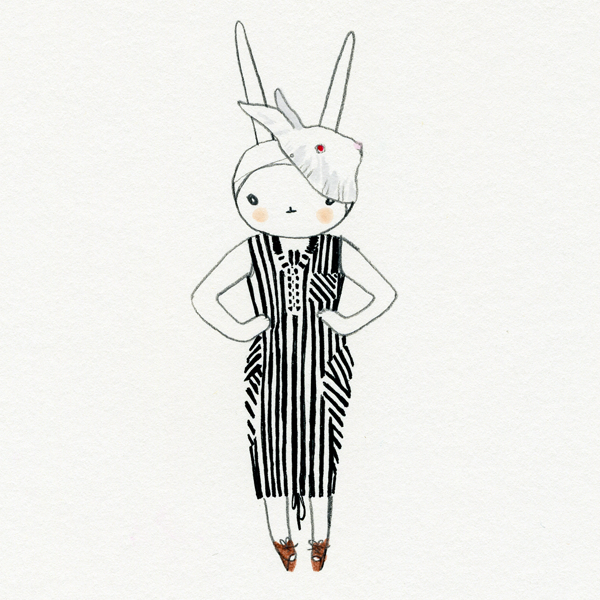 Fifi Lapin: Fifi in the stripey dress and bunny mask
