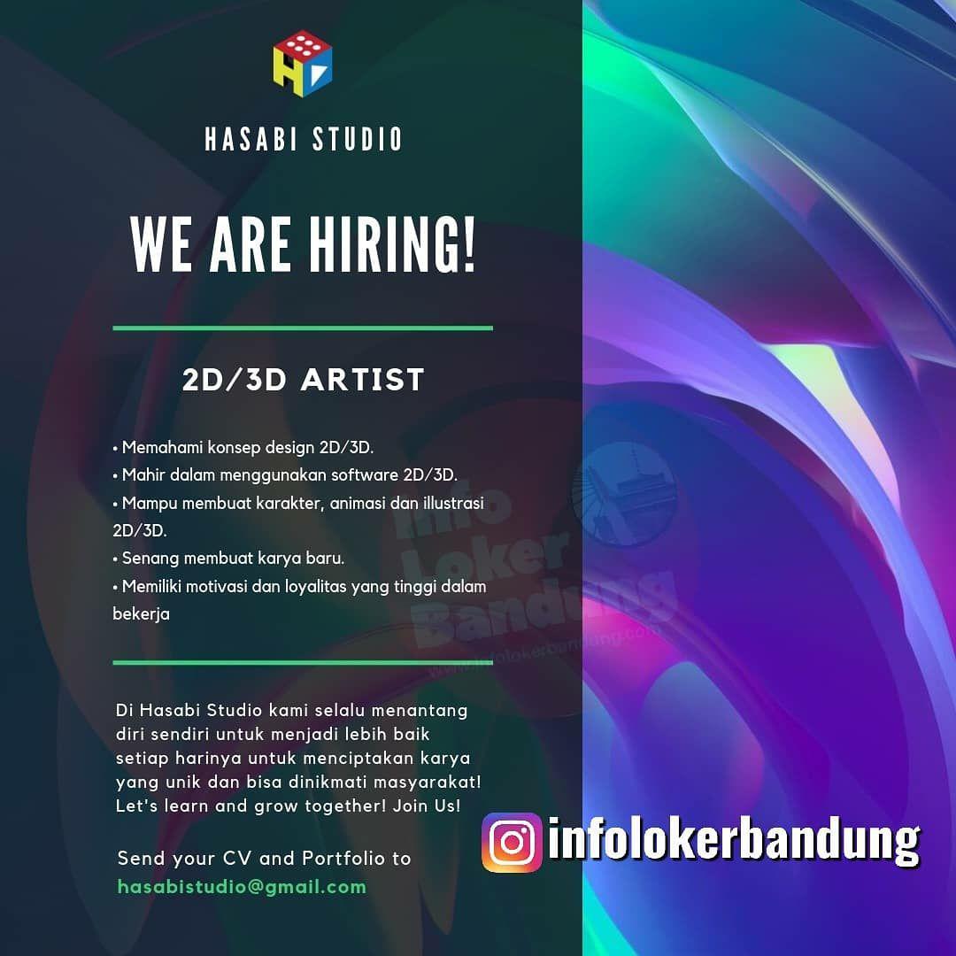 Lowongan Kerja 2D 3D Artist Hasabi Studio Bandung September 2019
