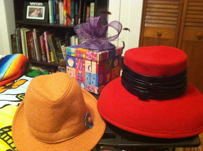 women's orange fedora, purple fascinator, and red felt vintage hat for kentucky derby outfits