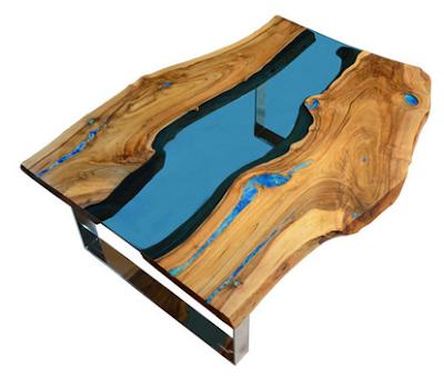 meja resin kayu