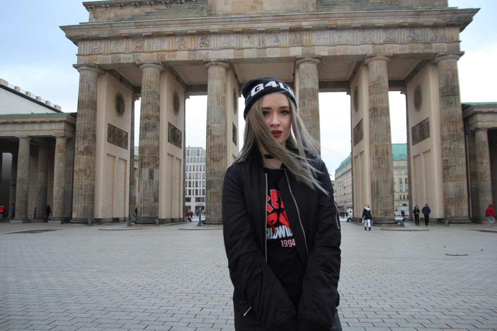 Blogger Lucy Love at Brandenburg Gate Berlin