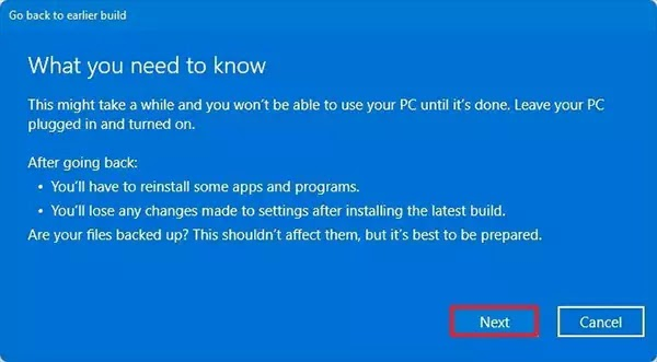 تحذير التراجع عن Windows