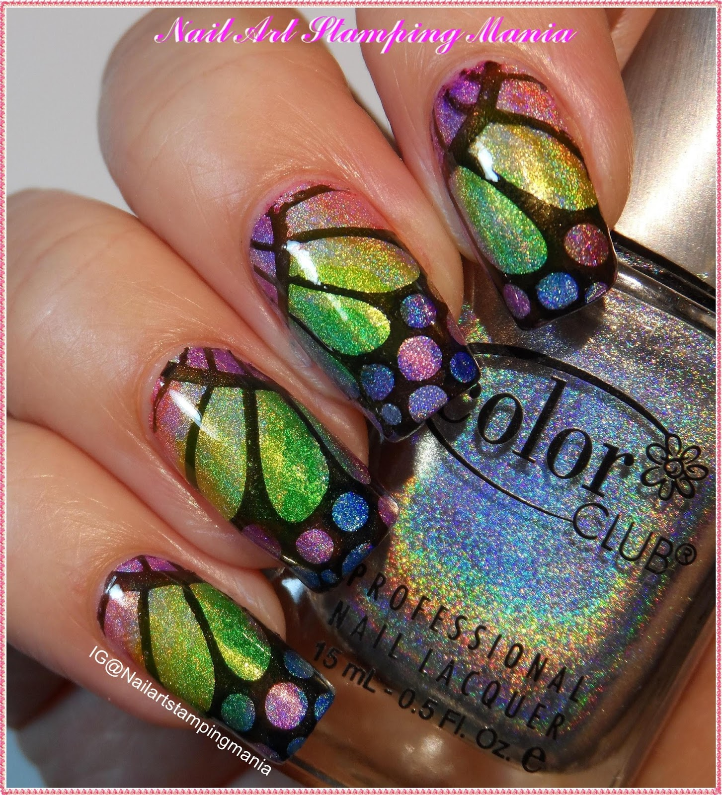 Nail Art Stamping Mania: Holographic Butterfly Manicure with ...