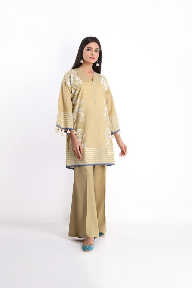 khaadi brown lawn shirt shalwar