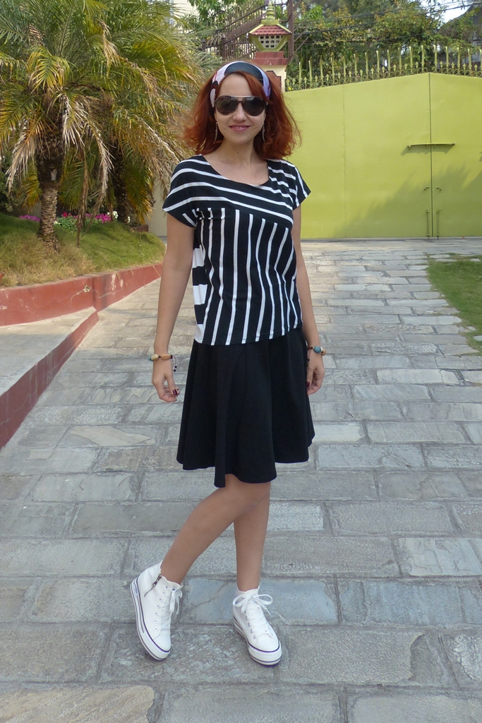 Stripy top, black skirt and white converse shoes