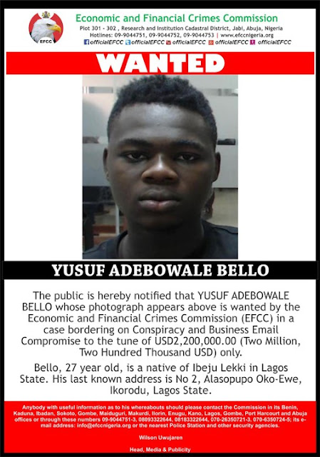 27-year-old man declared wanted by EFCC for $2.2 million fraud
