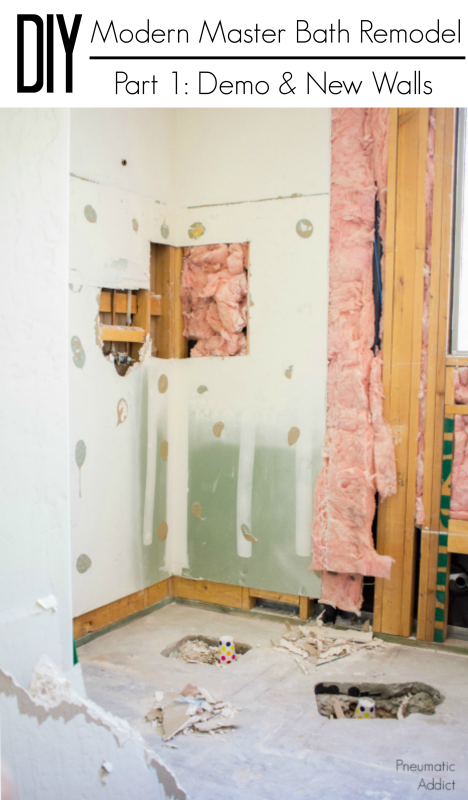 Demolition and building the walls in our DIY complete modern bathroom remodel