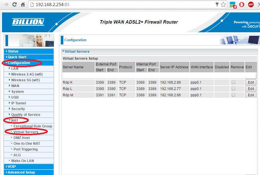 Loza S Blog Port Forward Remote Desktop On Billion 7800vdpx