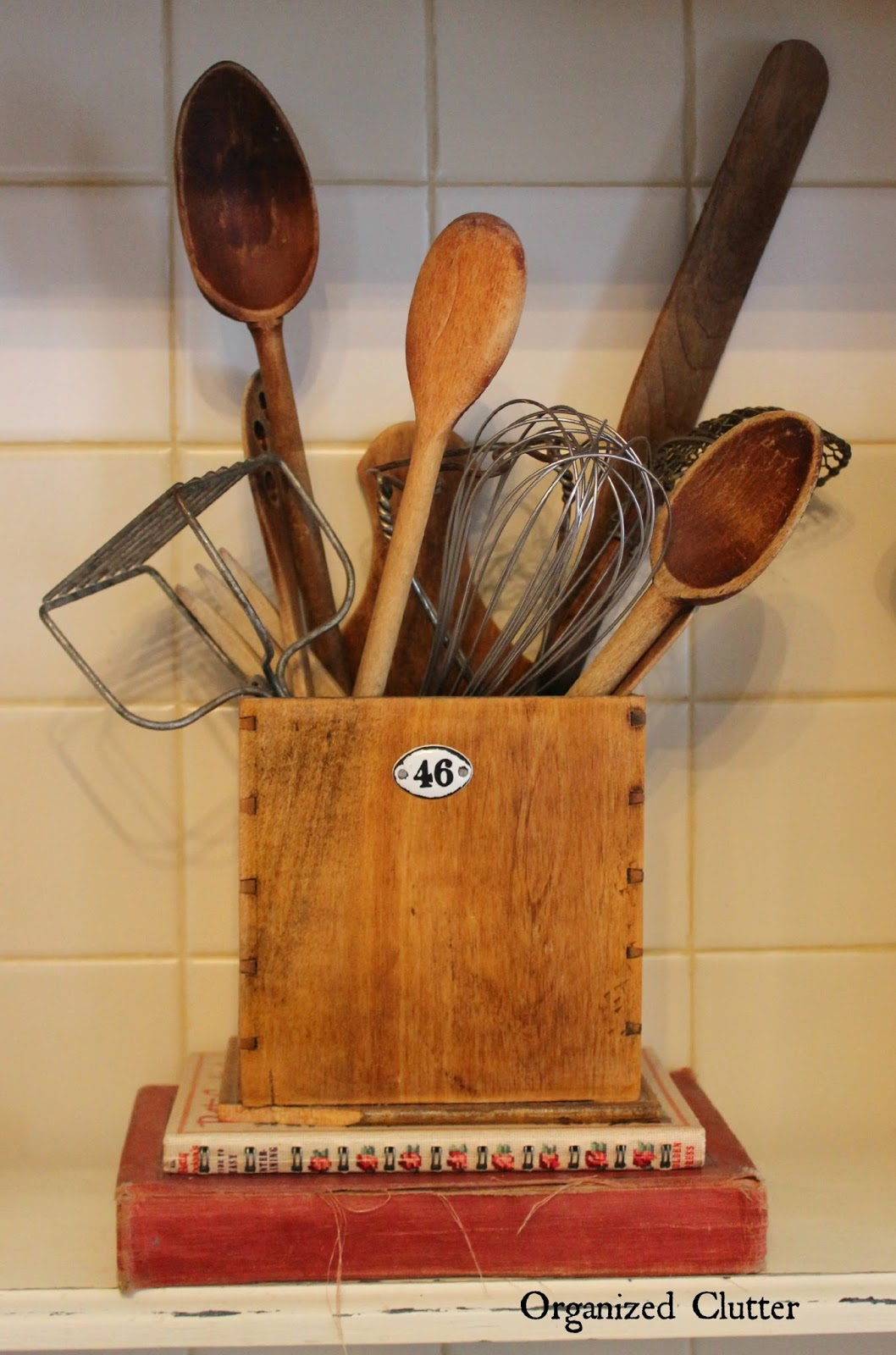 Utensil Display in a Farmhouse Style Kitchen