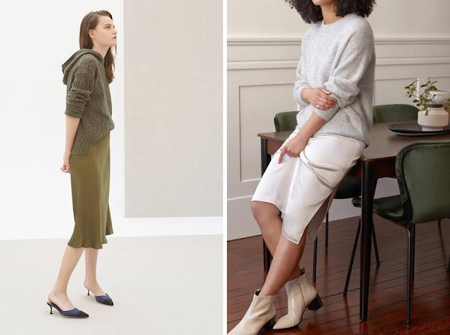 Зеленое платье-комбинация со свитером