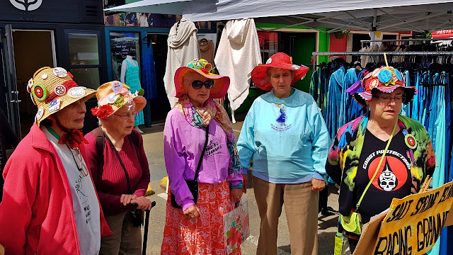 The Raging Grannies get their game on at the Salt Spring Island Saturday market...