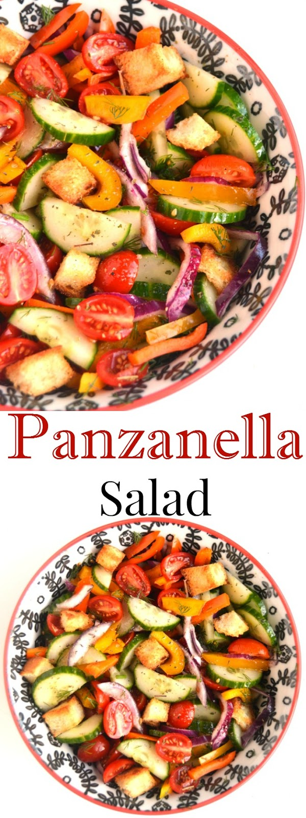 Panzanella Salad is full of flavor with fresh tomatoes, cucumbers, bell peppers, red onion, dill, garlic French bread croutons and a homemade Italian dressing! www.nutritionistreviews.com