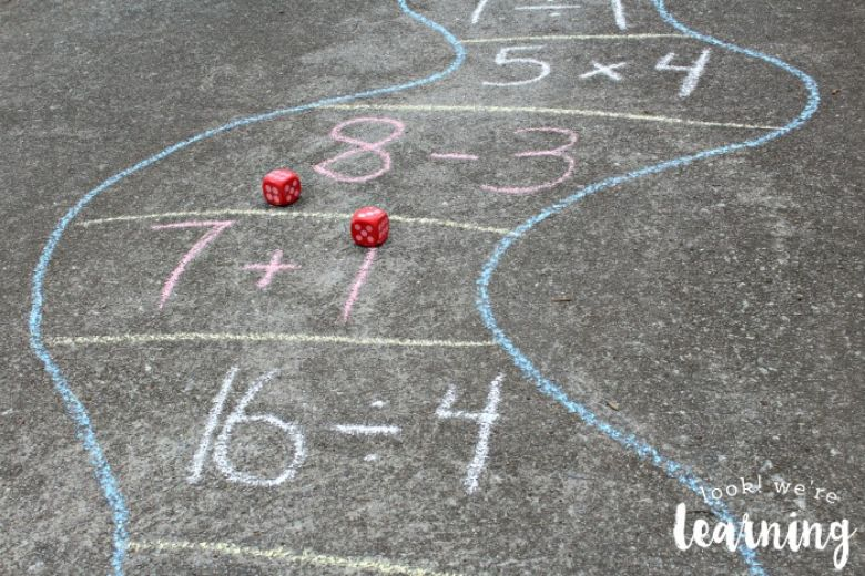 sidewalk chalk outdoor math game idea
