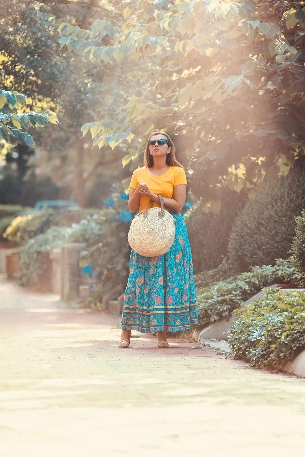 Blue Boho Floral-Print Elastic Waist Maxi Skirt -mariestilo-lookbookstore-armandhugon-dcblogger-fashionblogger-strawbags-