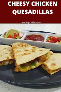 Incredible cheesy chicken quesadillas that are packed with chicken, onion, garlic, peppers and cheese. They are easy to make and are perfect for a picnic.