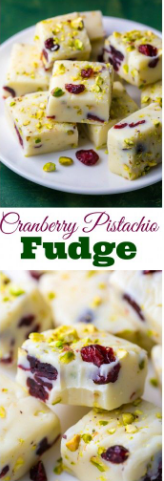 White Chocolate Cranberry Pistachio Fudge