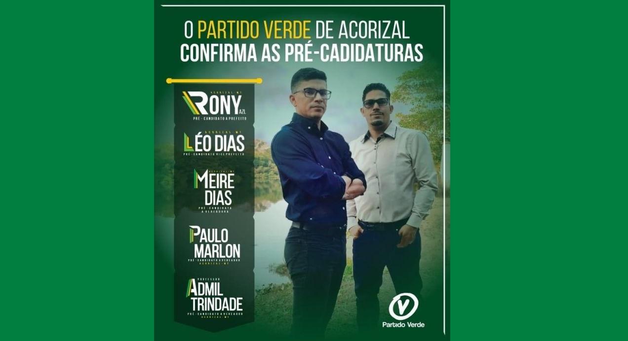 ACORIZAL: PV vai de chapa pura com Rony a prefeito e Léo Dias a vice