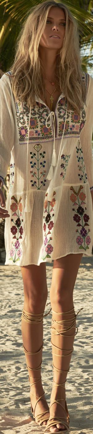 MELISSA ODABASH MILLIE EMBROIDERED BOHO SHORT DRESS
