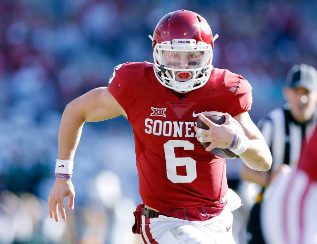 55d8f2826 After his team won a second consecutive Big 12 championship Saturday,  Oklahoma quarterback Baker Mayfield said he will return for his senior  season