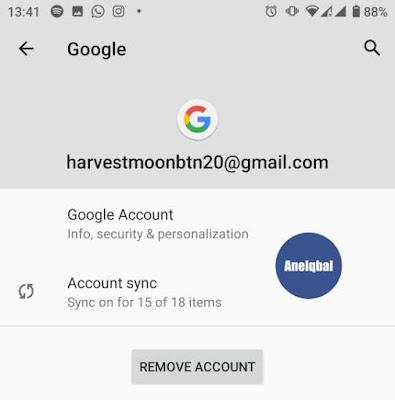 hapus akun google android