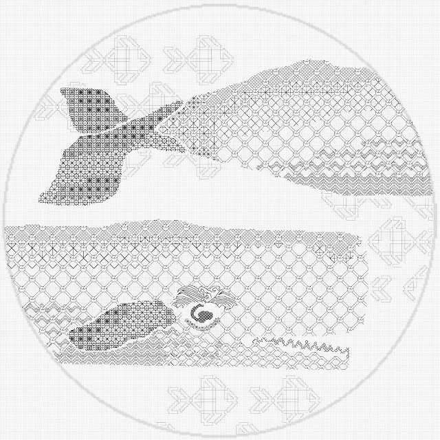 Embroidery pattern depicting a whale and fish