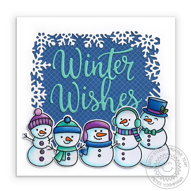 Sunny Studio Stamps: Feeling Frosty Winter Wishes Snowman Holiday Christmas Card (using Layered Snowflake Frame Dies & Classic Gingham 6x6 Paper)