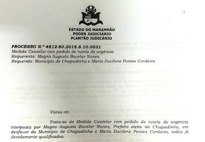 Ação judicial impetrada por Magno Bacelar, pedindo o bloqueio