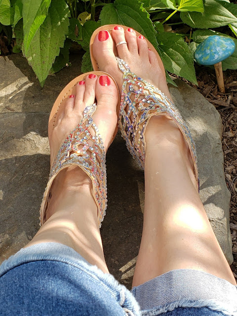 zoya celi and boho rhinestone thong sandals