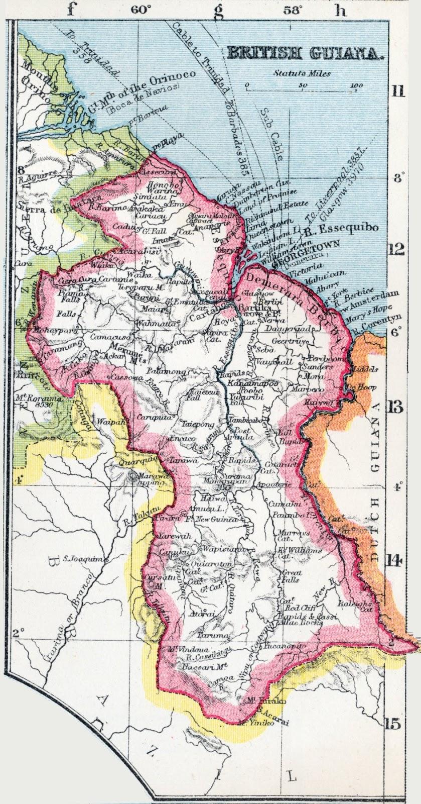 Guajana - harta gjeografike e Guajana