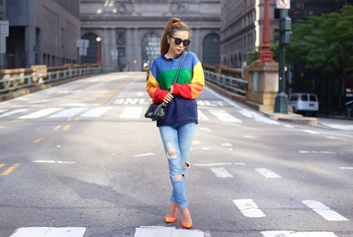 unif celab sweater, blank denim distressed jeans, alice and olivia pumps, boy chanel bag, chanel earrings, karen walker sunglasses, fahsion blog, street style, new york city, nyc blogger, sweater, fall, fall fashion