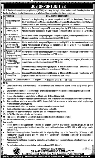 Job Opportunities Oil And Gas Company Limited